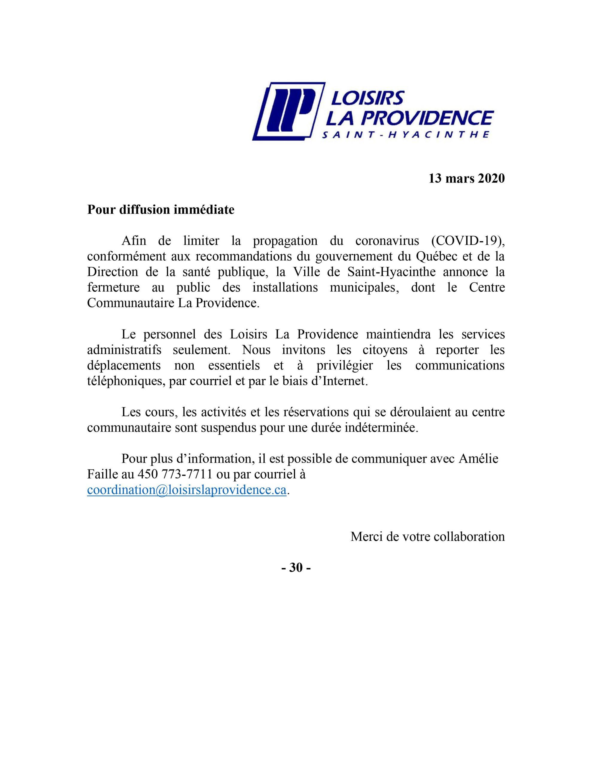 Communiqué COVID-19